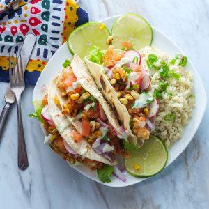 Dinner: Shrimp Tacos w/Charred Corn Salsa