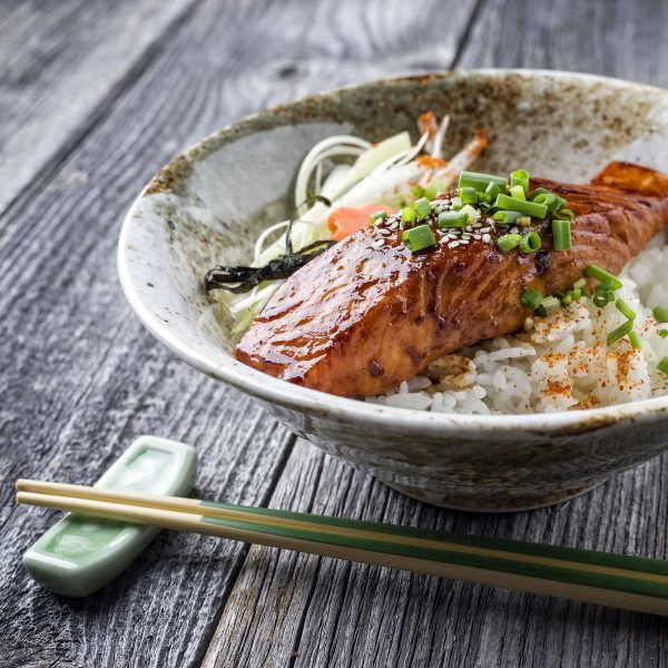 Teriyaki Salmon Bowls with Roasted Broccoli and Pickled Ginger Cucumber Salad