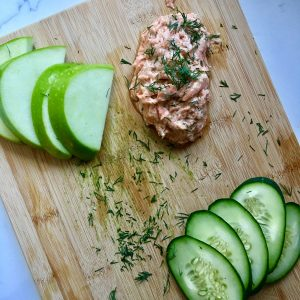 Dill Salmon Spread with Crunchy Vegetables