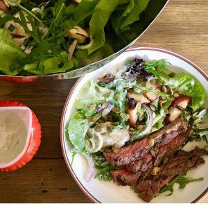 Grilled Steak, Walnut Apple Salad & Blue Cheese